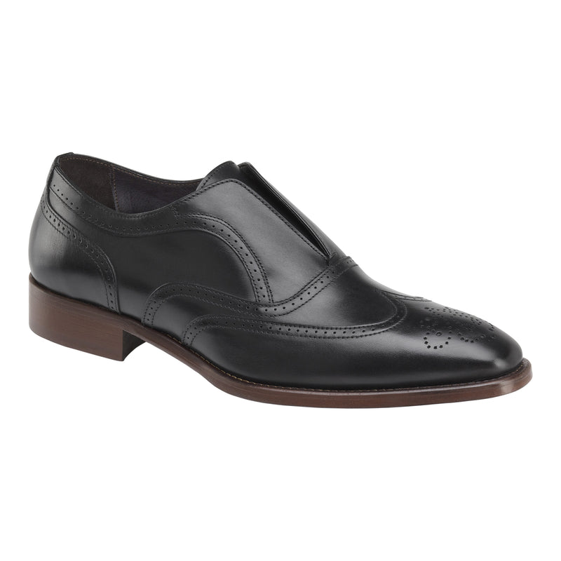 Johnston & Murphy - CORMAC WINGTIP SLIP-ON Black Made In Italy 24-3087