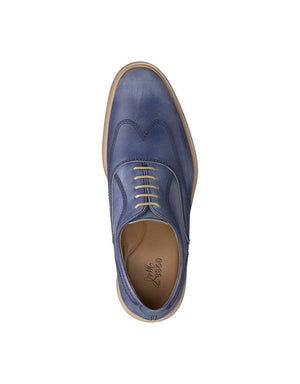 Johnston & Murphy Shoes Chambliss Wingtip Shoe Navy Full Grain Leather 27-1409