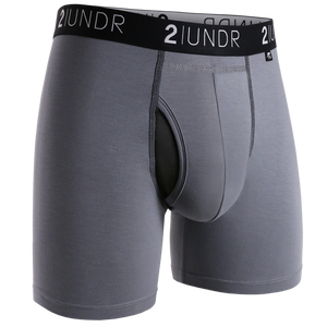 2UNDR Mens Luxury Underwear Swing Shift Boxer Briefs Grey/Black