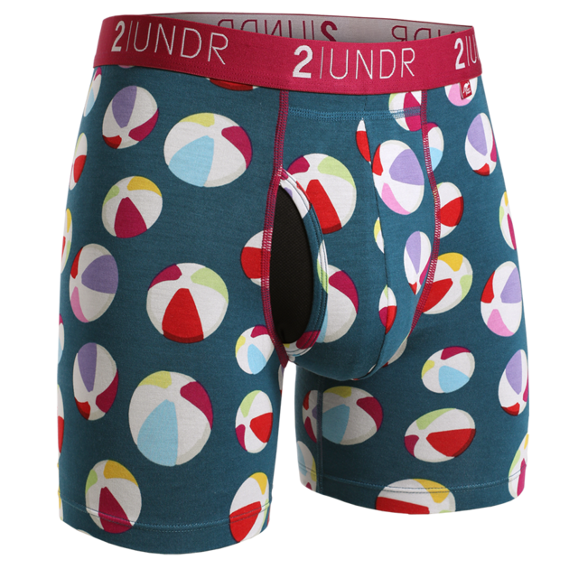 2UNDR Mens Luxury Underwear Swing Shift Boxer Blue Beach Balls