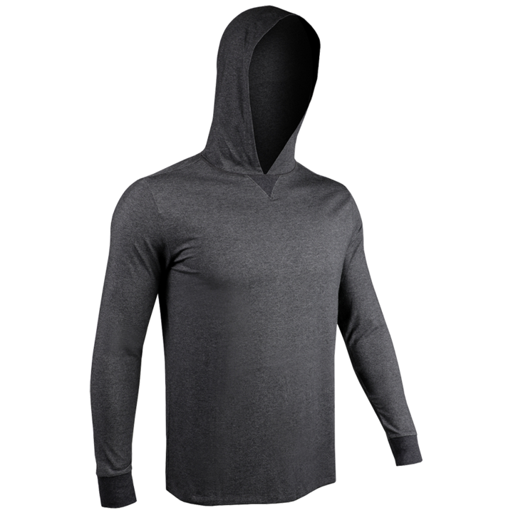 2UNDR Mens Luxury LS Hooded Tee - Charcoal