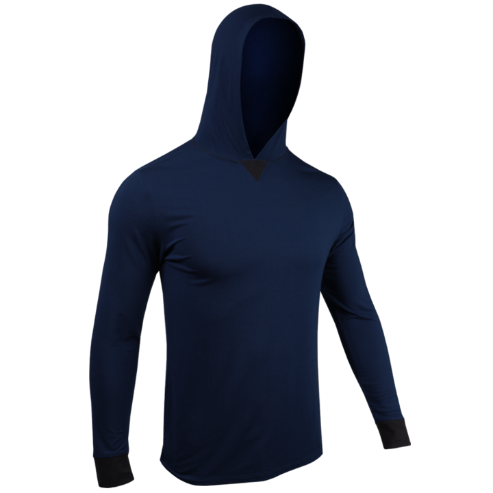 2UNDR Mens Luxury LS Hooded Tee - Dark Navy