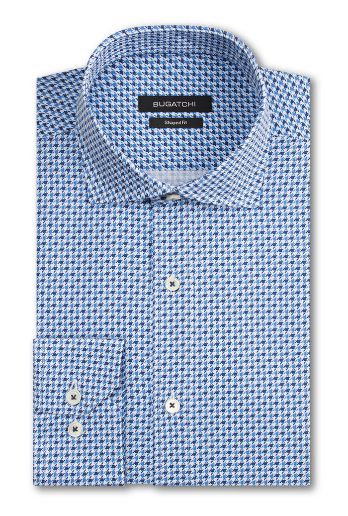 Bugatchi Woven Shaped Fit Performance Mens Dress Shirt Classic Blue BNWT