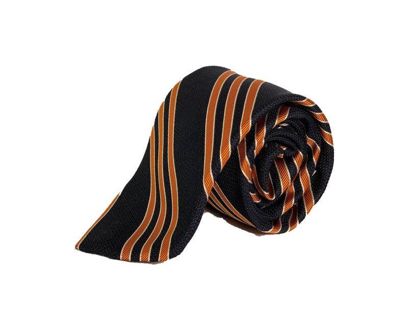 Dion Men's 100% Silk Neck Tie - Striped - Blue/Orange - BNWT