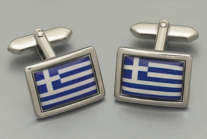 Cufflinks - Greek Flag