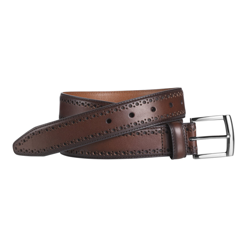 Johnston & Murphy Belt - Perfed Edge - Mahogany - 75-7479