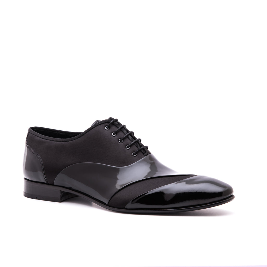 Jared Lang Shoes Black Patent Leather Tuxedo Shoe 8276-BK