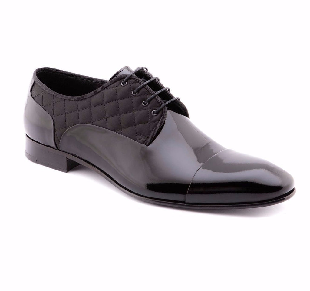 Jared Lang Shoes -Tufted Black Patent Formal Dress Shoes 8312-BK