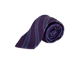 Dion Men's 100% Silk Neck Tie - Stripe - Purple/Blue - BNWT
