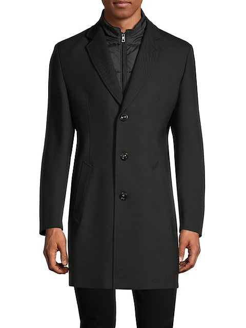 Bugatti - Men's Wool Jacket - 3/4 Length - Black