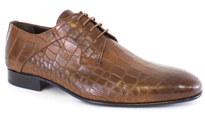 Lucas Edward Shoes - Tobacco Leather Croc Lace Up