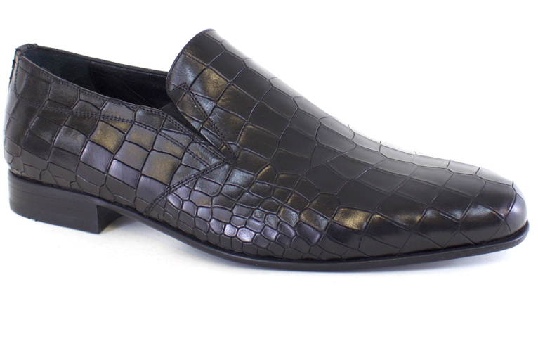 Lucas Edward Shoes - Black Leather Croc Slip-On