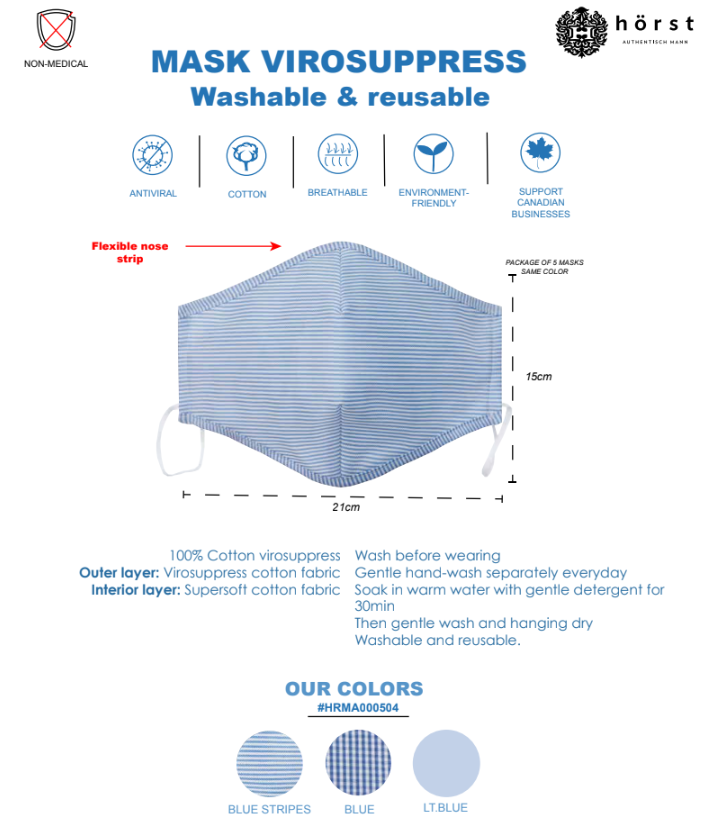 Horst Anti Viral Cotton Washable & Reusable Masks 5 PACK HRMA000504