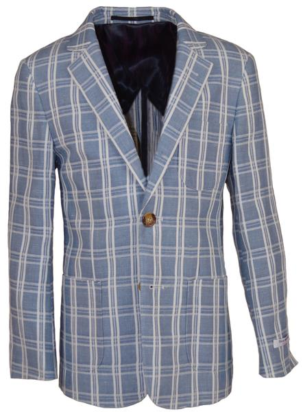 Isaac Mizrahi - Linen Blazer Gray And Pearl Plaid - Boys