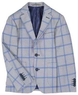 Isaac Mizrahi -  Knit Blue Check Blazer - Boys