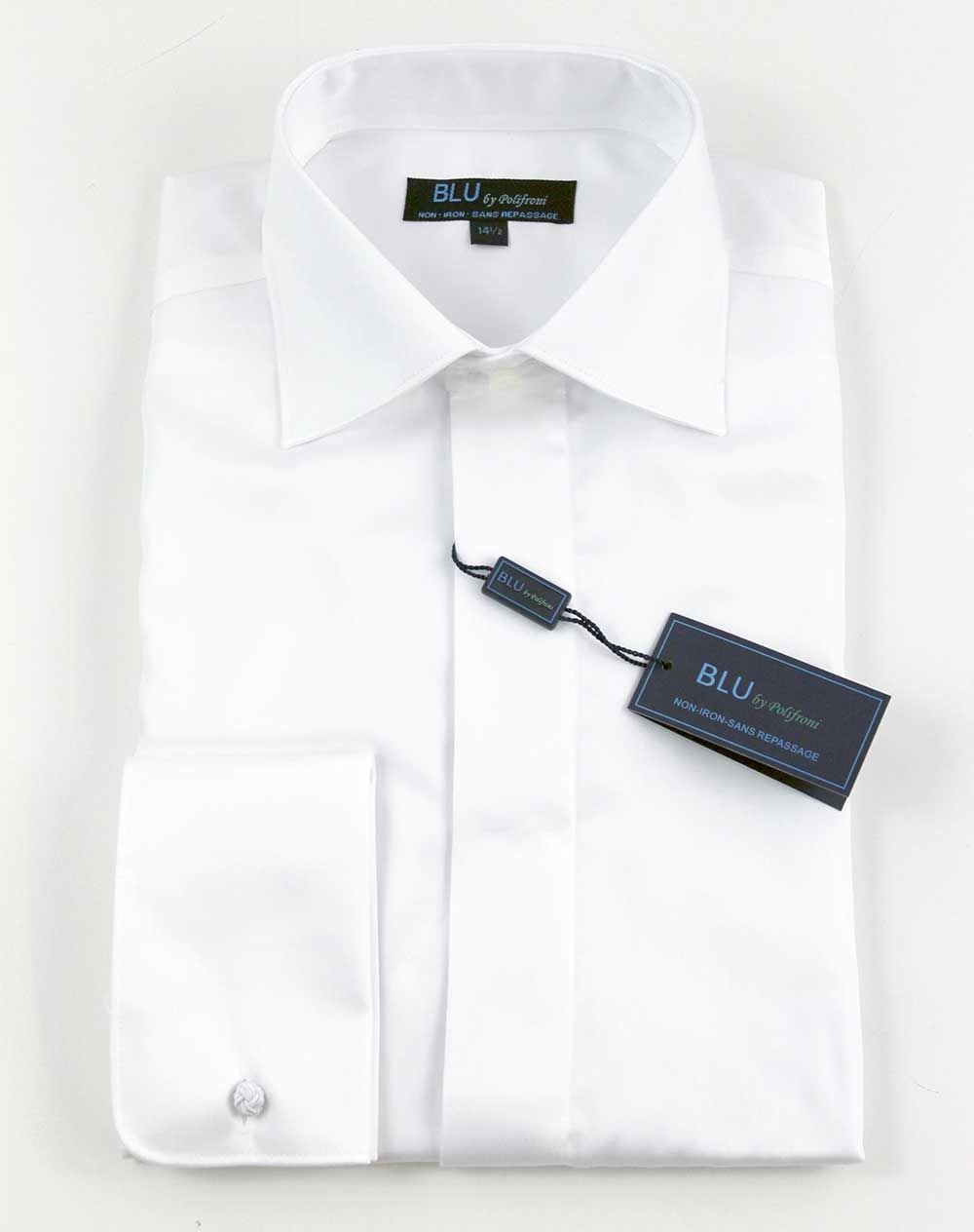 Polifroni Dress Shirt - Blu420 Tuxedo - White French Cuff