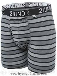 2UNDR Mens Luxury Underwear Swing Shift Boxer Briefs Black Stripes