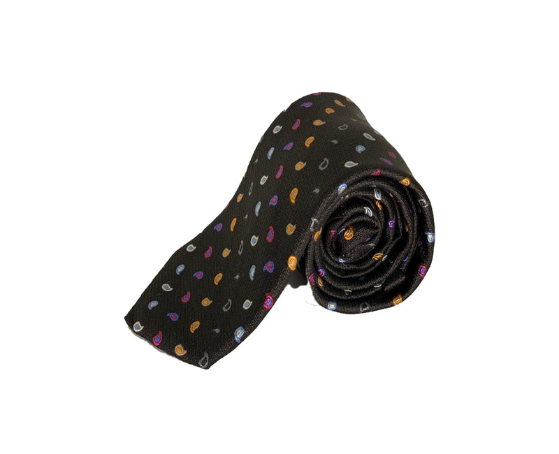Dion Men's 100% Silk Neck Tie - Paisley - Black/Mutli - BNWT