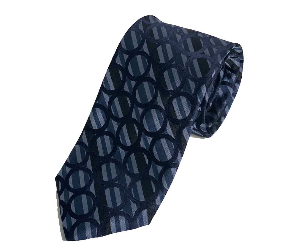 Dion Men's 100% Silk Neck Tie - Navy Blue Circles - BNWT