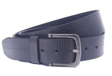 OHM Leather New York Dotted Casual Belt with Antique effect Buckle - Black