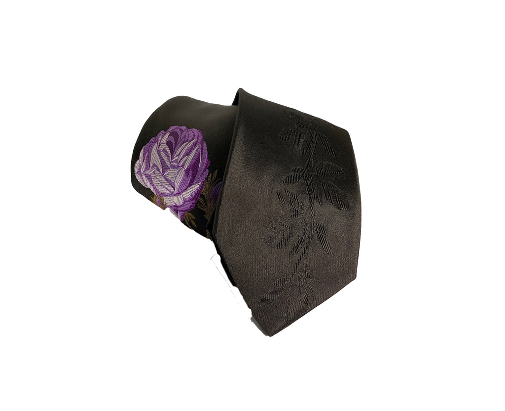 Dion Men's 100% Silk Neck Tie - Floral Black/Purple - BNWT