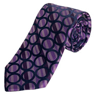 Dion Men's 100% Silk Neck Tie - Purple/Navy  - BNWT