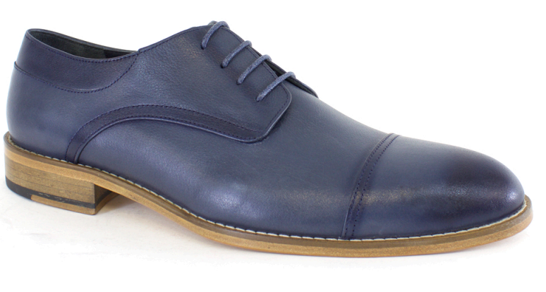 Lucas Edward Shoes - Blue Leather Lace Up Shoe