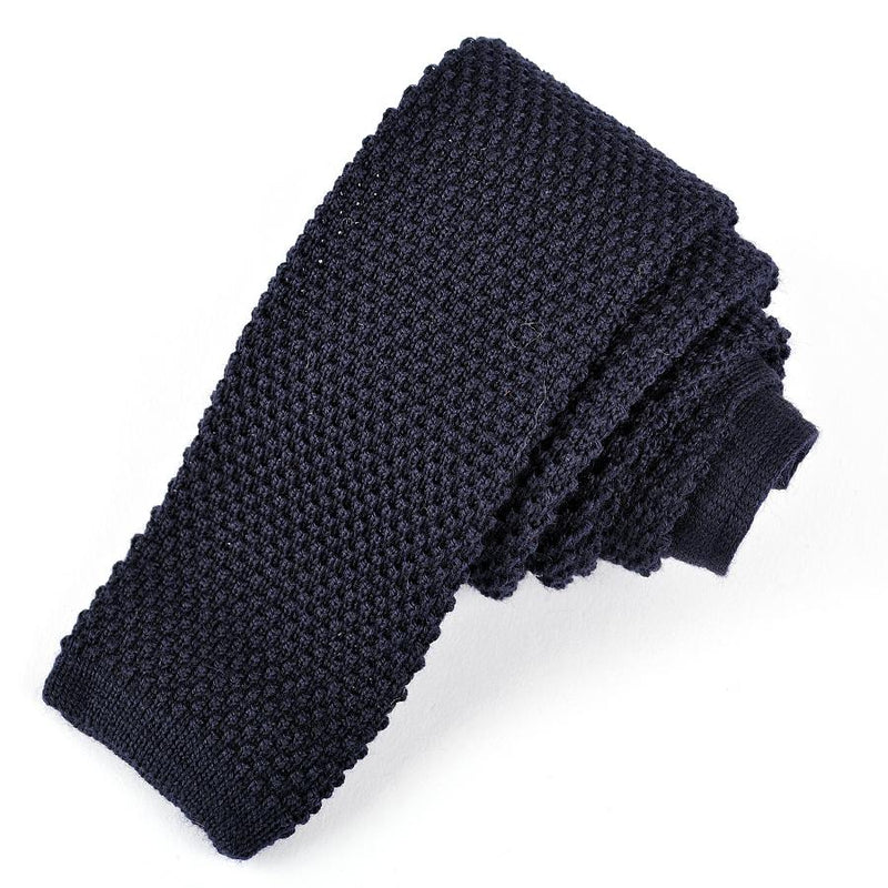Dion Men's 100% Wool Knit Neck Tie - Navy  - BNWT