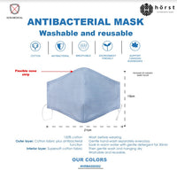 Horst Anti Bacterial Cotton Washable & Reusable Masks 5 PACK HRMA000502