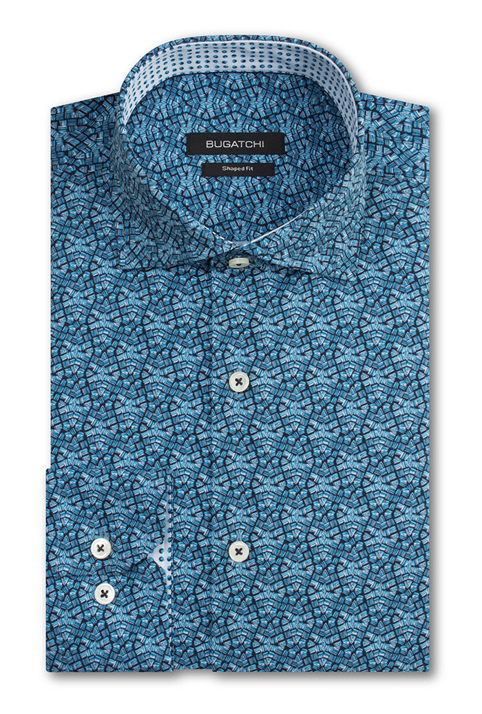 Bugatchi Shaped Fit Performance Men's Dress Shirt Teal BNWT
