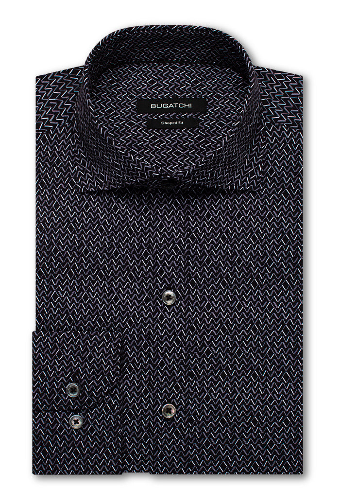 Bugatchi Shaped Fit Performance Mens Dress Shirt Black BNWT