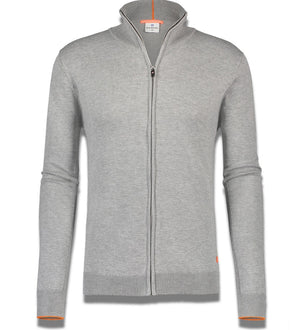 Blue Industry Sweater - Luxe Zip Up Grey