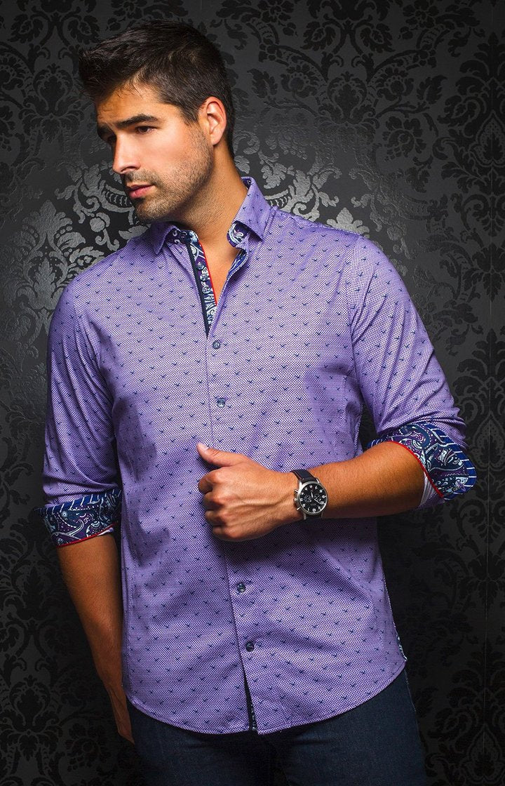 Au Noir Men's Casual Shirt BNWT Milos Lavender Size 3 / Medium BNWT