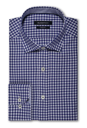 Bugatchi Woven Shaped Fit Dress Shirt - Navy