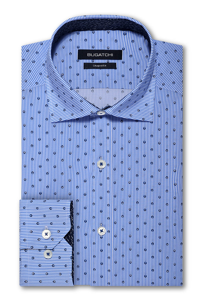 Bugatchi Shaped Fit Performance Men's Dress Shirt Classic Blue BNWT
