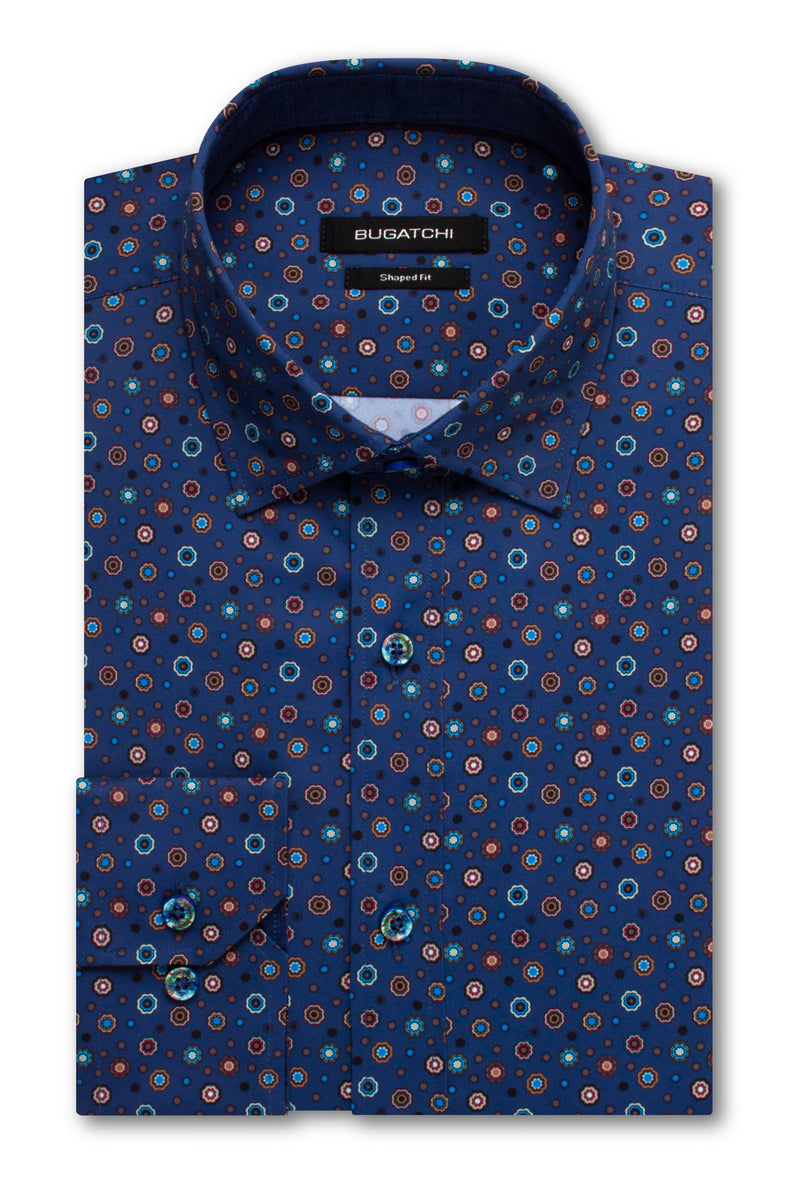 Bugatchi Shaped Fit Performance Men's Dress Shirt Night Blue BNWT