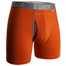 2UNDR Mens Luxury Underwear Swing Shift Boxer Briefs Orange