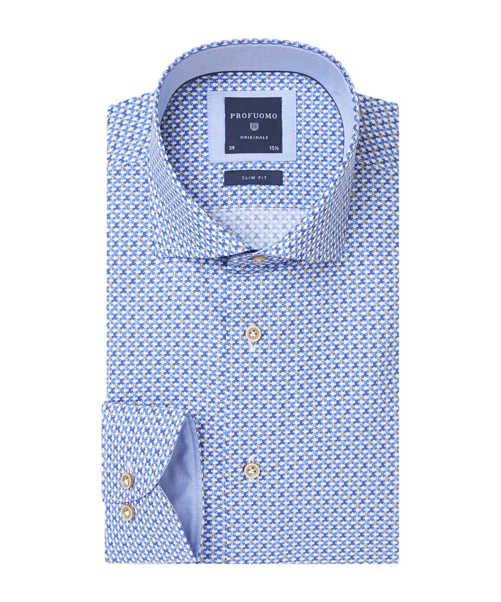 Profuomo - Dress Shirt - Grey Print Shirt