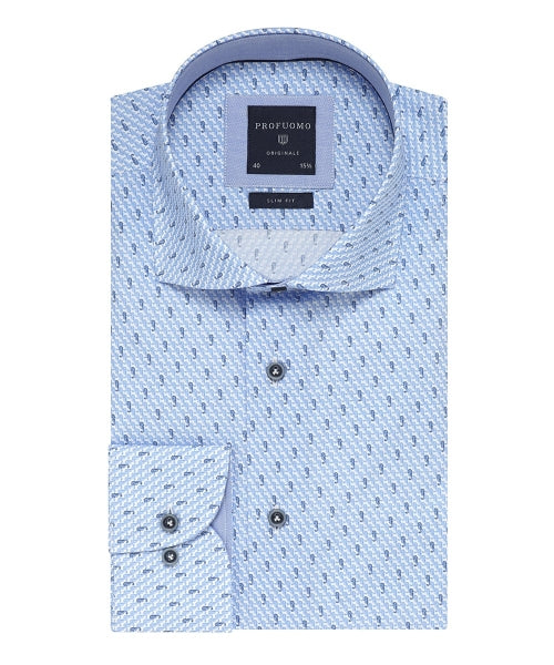 Profuomo - Dress Shirt - Navy Printed Shirt