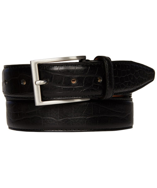 Profuomo Men's Premium Leather Belt Crocodile Pattern Black Belt