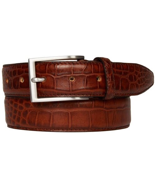 Profuomo Men's Premium Leather Belt Crocodile Pattern Cognac Belt