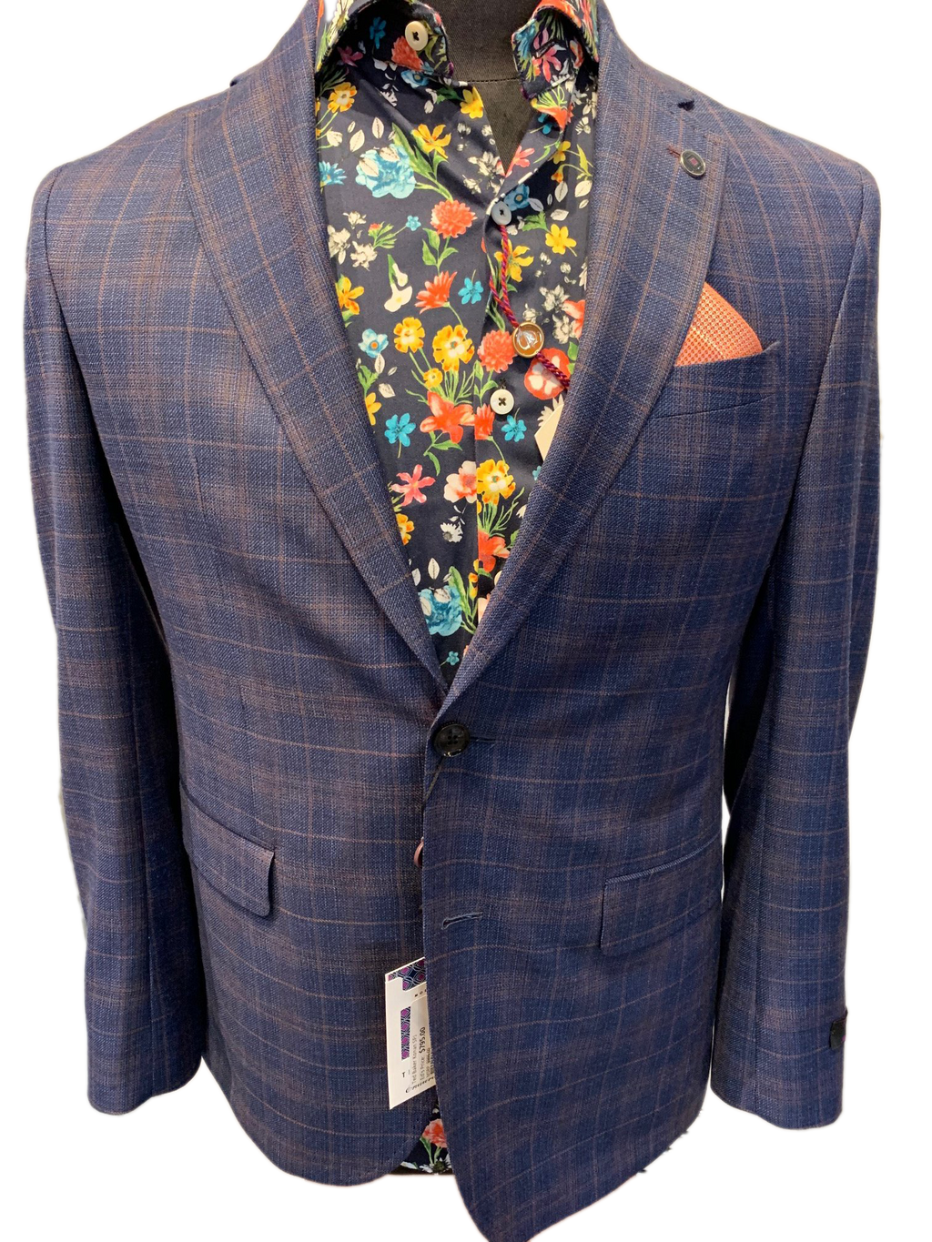Ted Baker Men's Blazer - Blue/Orange Windowpane Stunning Sports Jacket BNWT
