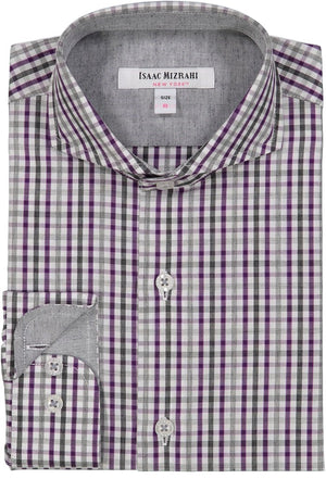 Isaac Mizrahi - Purple & Grey Check Dress Shirt - Boys