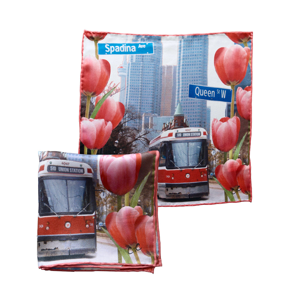 Hofman Street Art Silk Pocket Square (TTC Street Car)