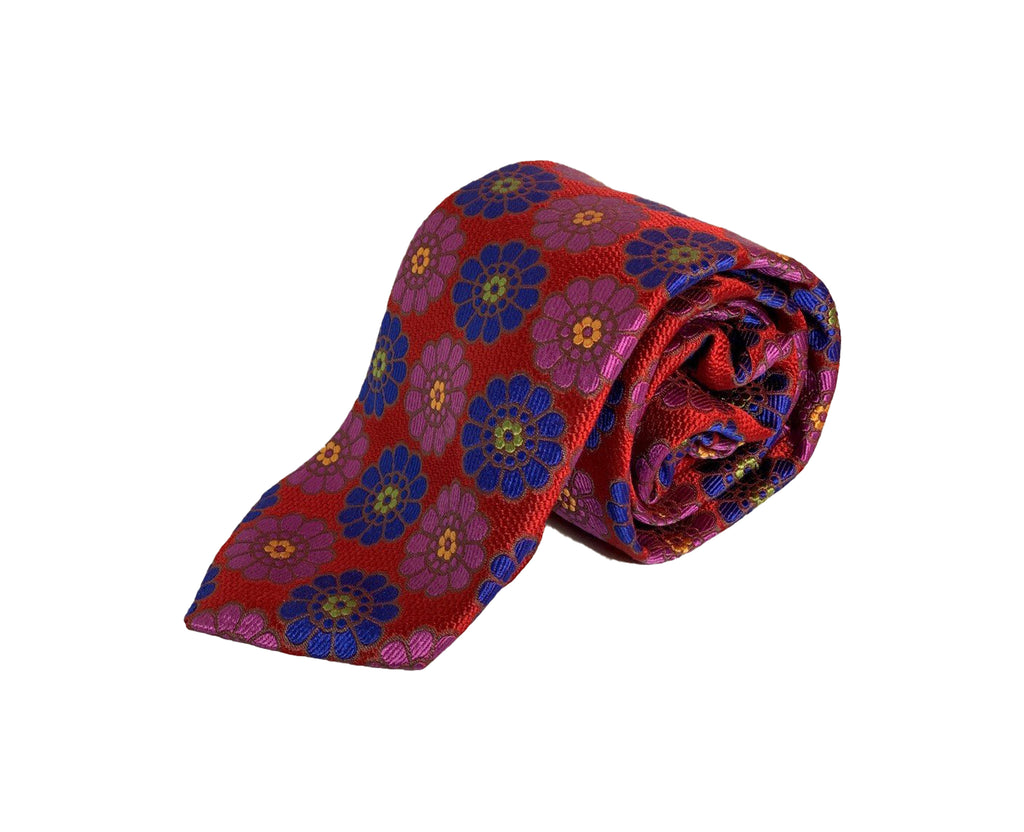 Dion Men's 100% Silk Neck Tie - Floral Red/Blue/Pink - BNWT