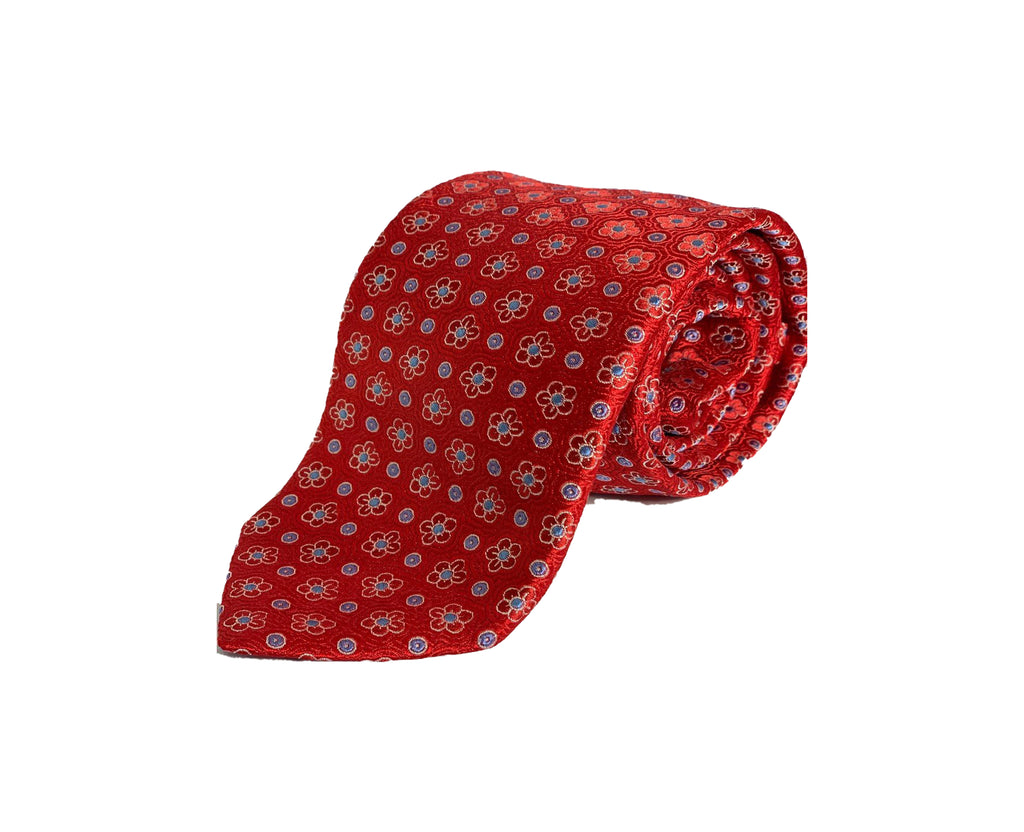 Dion Men's 100% Silk Neck Tie - Floral Red,Blue - BNWT