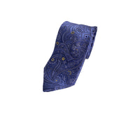 Dion Men's 100% Silk Neck Tie - Paisley Blue/Yellow - BNWT