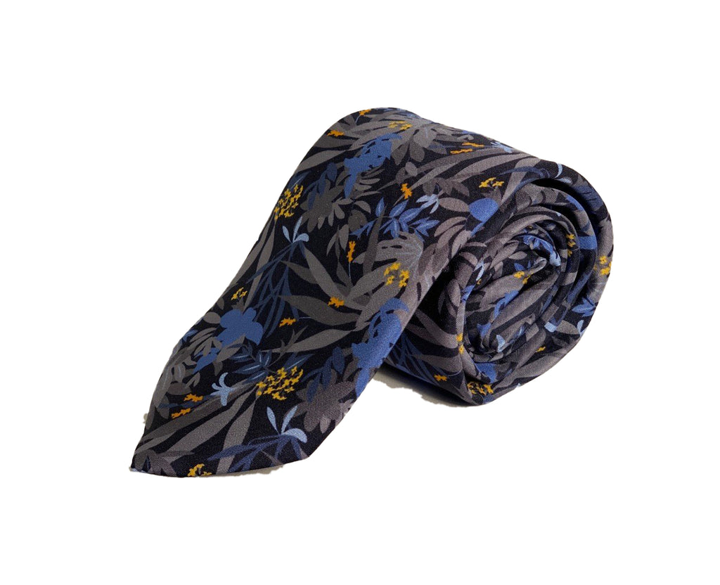 Dion Men's 100% Silk Neck Tie - Floral Blue/Grey - BNWT