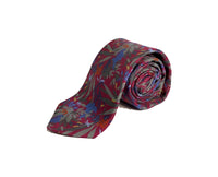 Dion Men's 100% Silk Neck Tie - Floral Red/Grey - BNWT