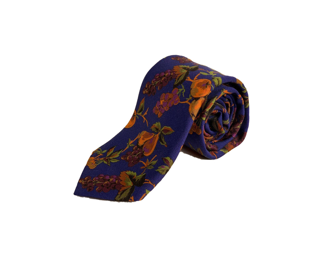 Dion Men's 100% Silk Neck Tie - Floral - Blue/Orange Grapes - BNWT